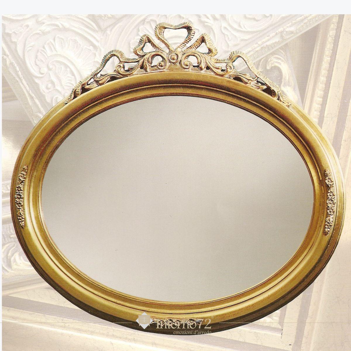 Specchiere specchiera ovale foglia oro vendita online - Specchiere on line ...